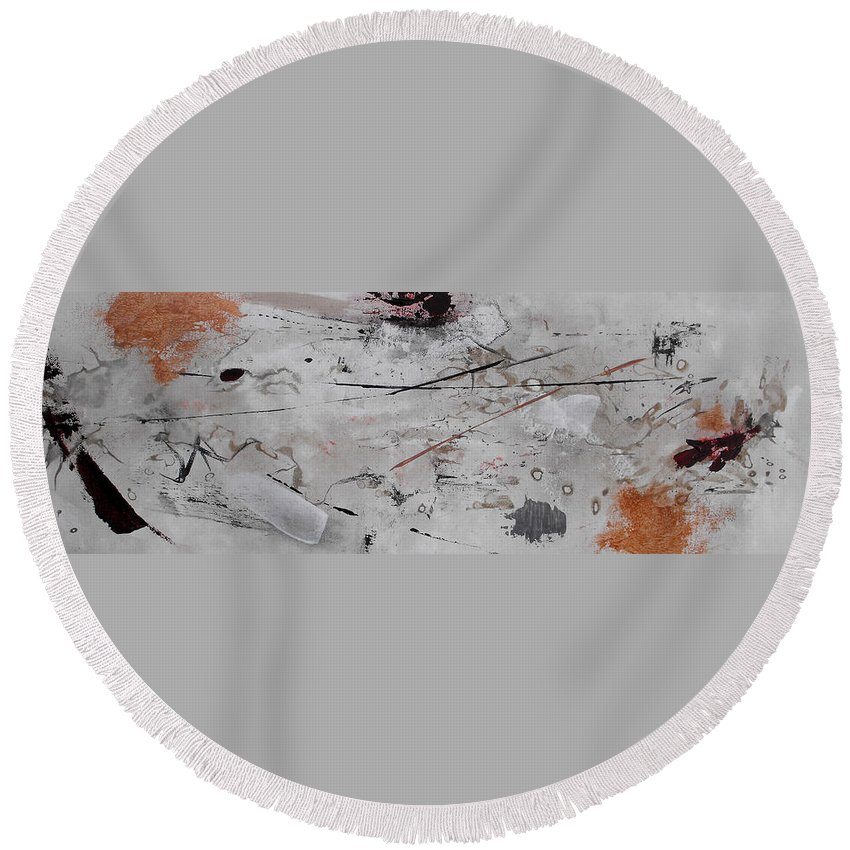 Abstract Round Beach Towel featuring the painting Righteous Judgment One Long by Ruth Palmer