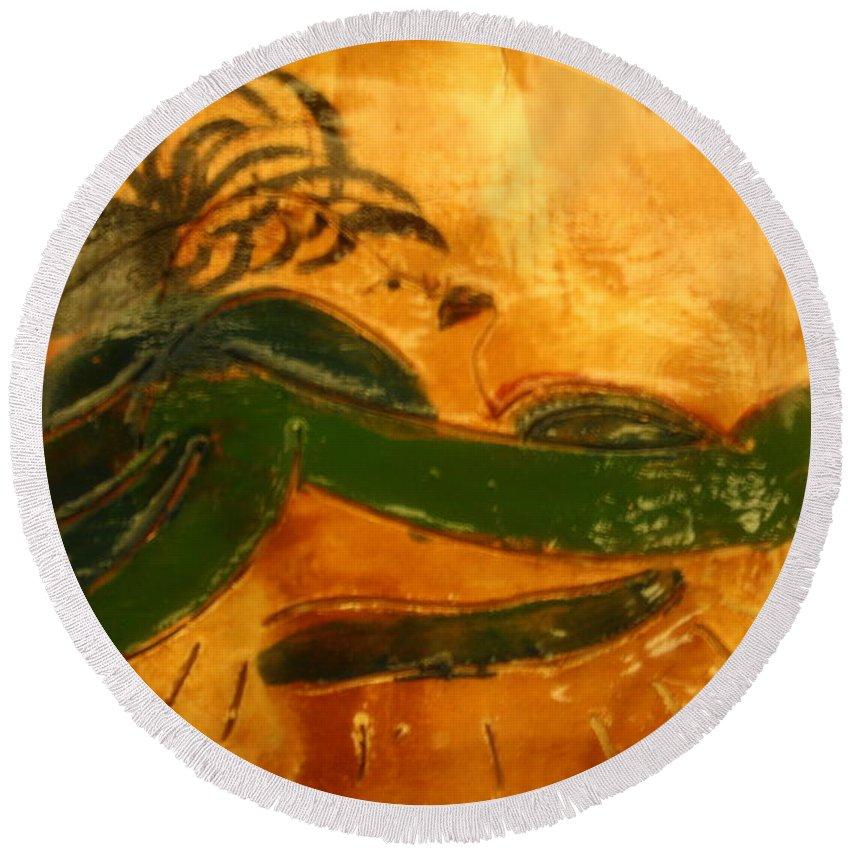 Jesus Round Beach Towel featuring the ceramic art Rihanna by Gloria Ssali