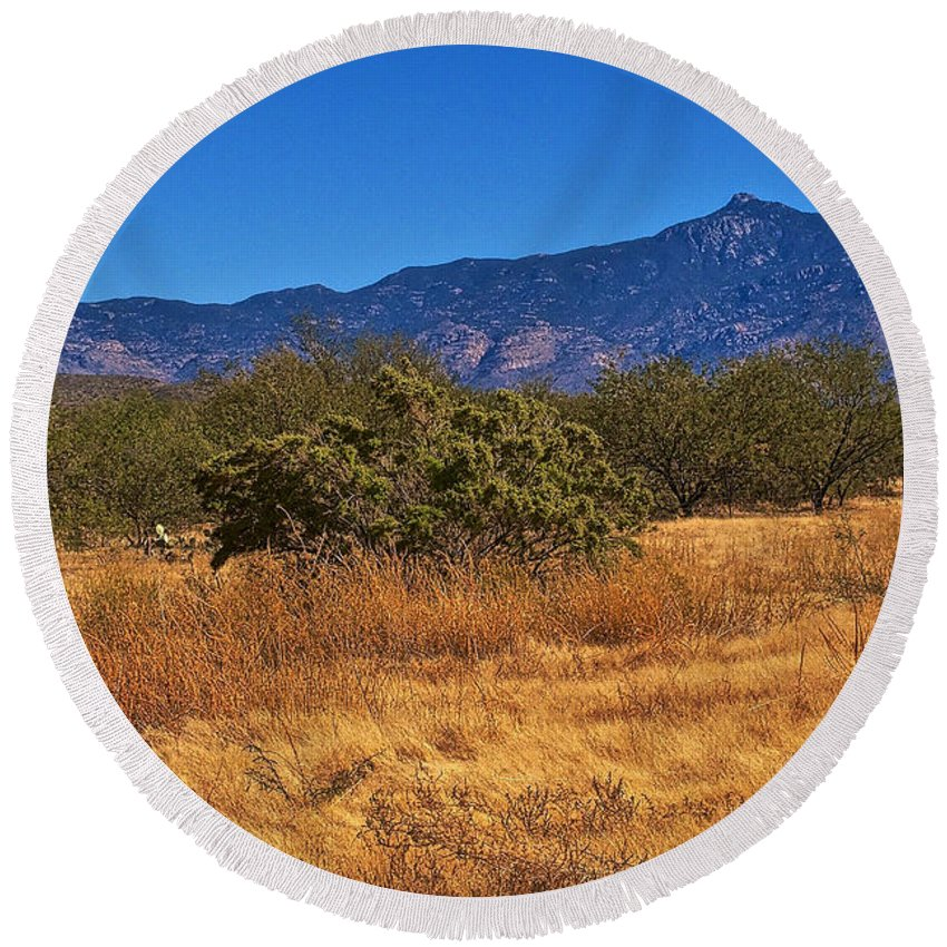 Rincon Peak Round Beach Towel featuring the photograph Rincon Peak, Tucson, Arizona by Eduardo Palazuelos Romo