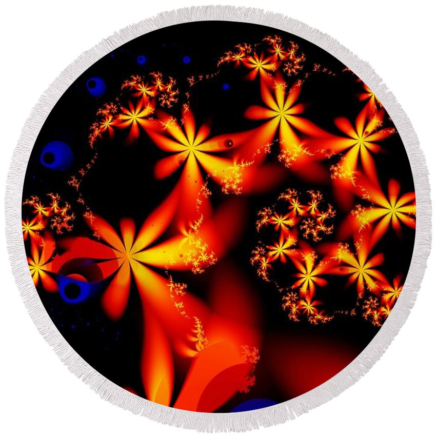 Flowers Round Beach Towel featuring the digital art Ring Of Posies by Ron Bissett