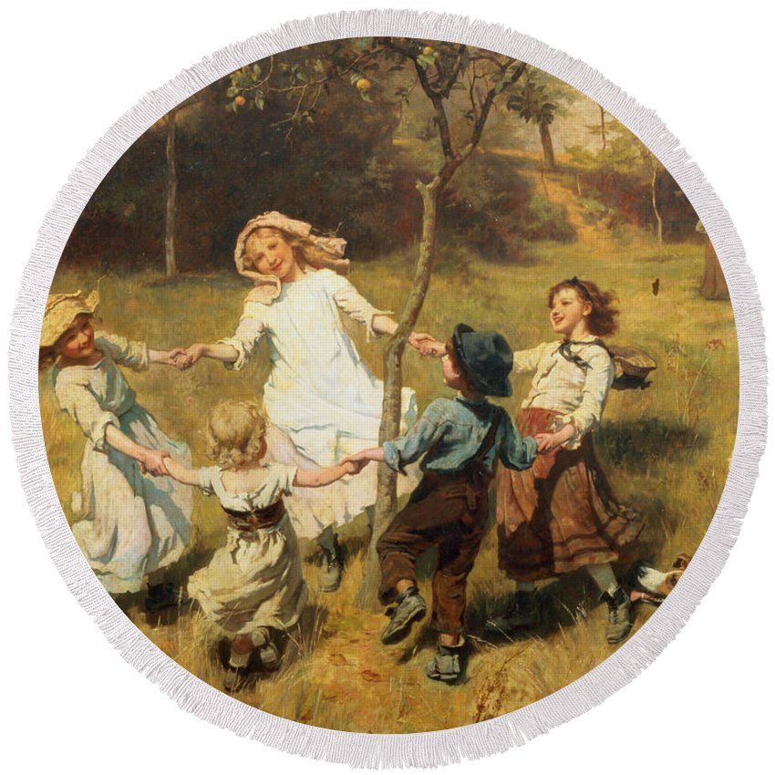 Frederick Morgan Round Beach Towel featuring the painting Ring Of Roses by Frederick Morgan