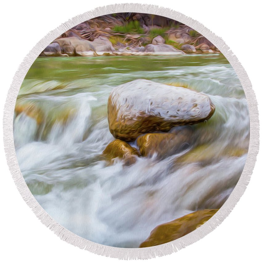 Big Bend Ranch State Park Round Beach Towel featuring the digital art Rio Grande Rocky Flow by SR Green