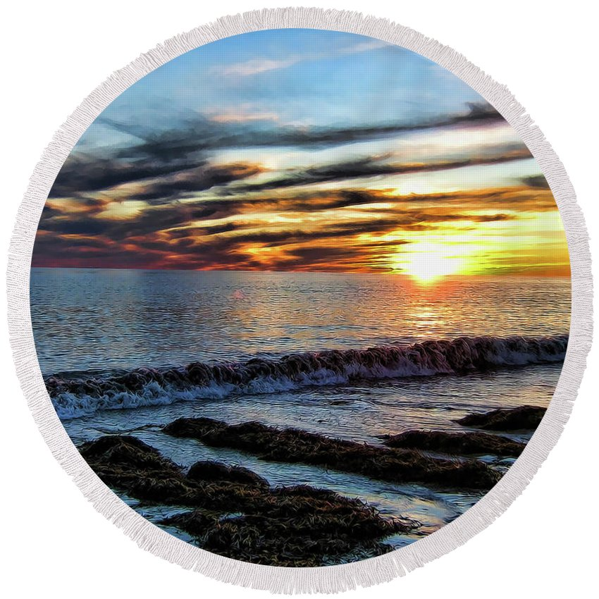 Wave Round Beach Towel featuring the photograph Ripple by Douglas Barnard
