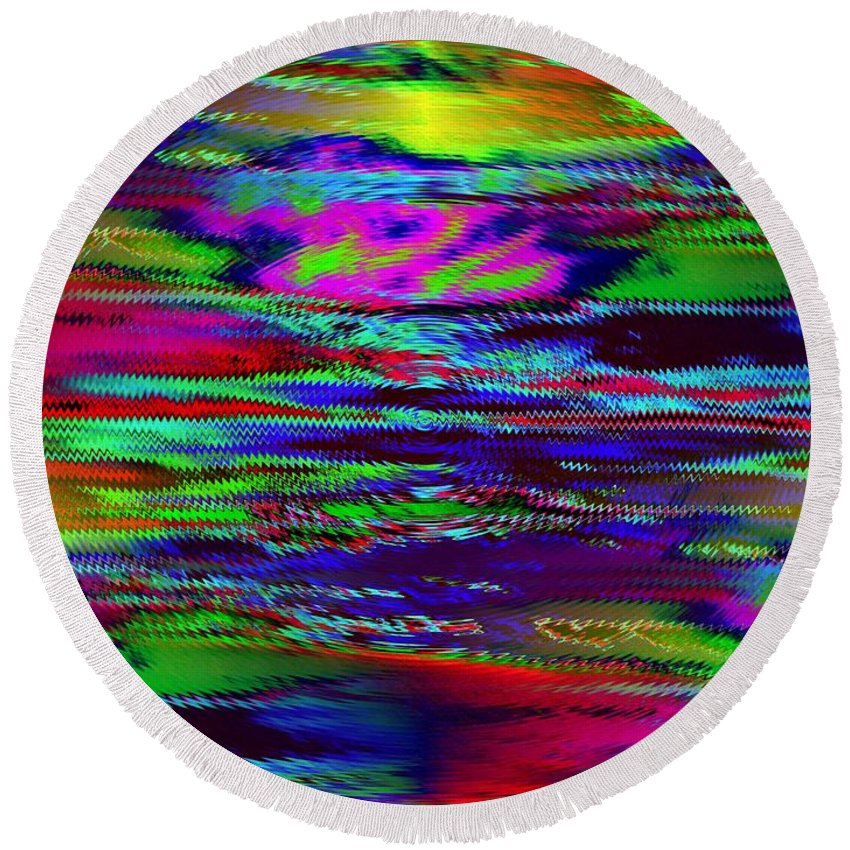 Sunset Round Beach Towel featuring the photograph Ripple Sunset by Tim Allen