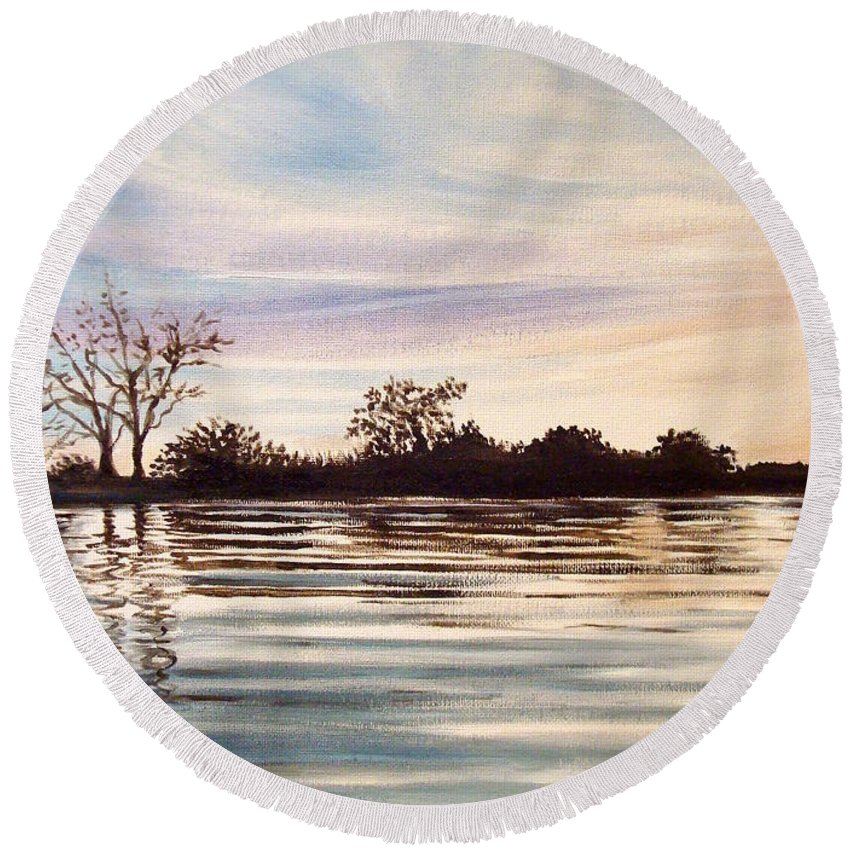 Oil Round Beach Towel featuring the painting Rippled Glass by Elizabeth Robinette Tyndall