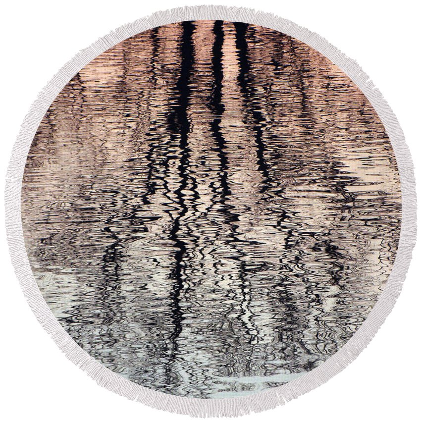 Waves Round Beach Towel featuring the photograph Rippled Reflection by J R  Seymour