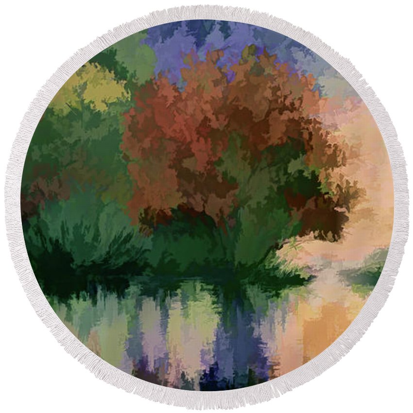 Rippled Sunset Round Beach Towel featuring the painting Rippled Sunset 2 by OLena Art Brand