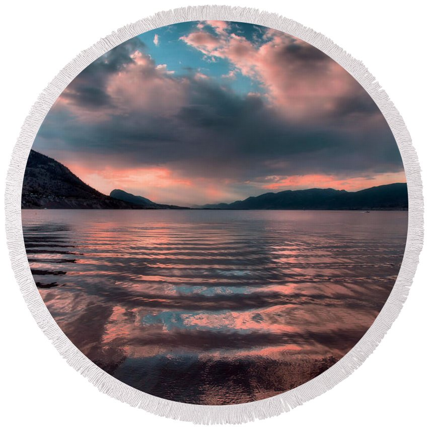 Lake Round Beach Towel featuring the photograph Ripples And Reflections by Tara Turner
