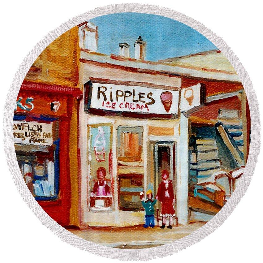 Ripples Icecream Round Beach Towel featuring the painting Ripples Icecream by Carole Spandau