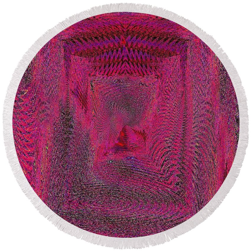 Abstract Round Beach Towel featuring the digital art Ripples In Red by Tim Allen