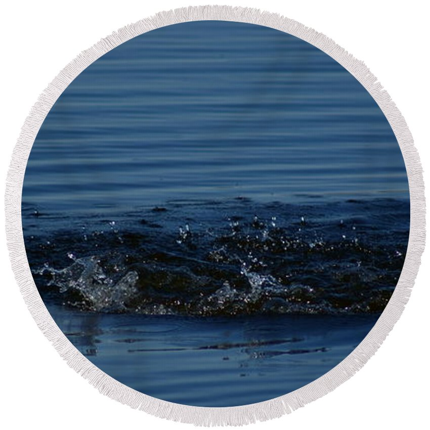 Waves Ripples In Lake Round Beach Towel featuring the photograph Ripples by Joanne Smoley