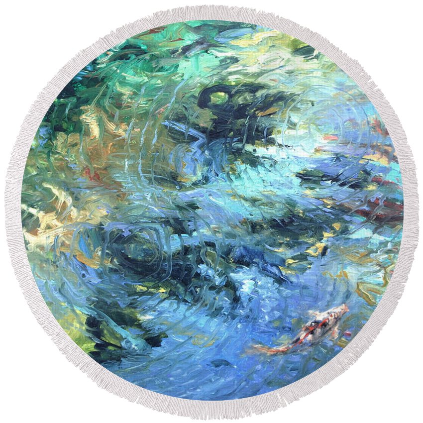 Marine Round Beach Towel featuring the painting Reef by Rick Nederlof