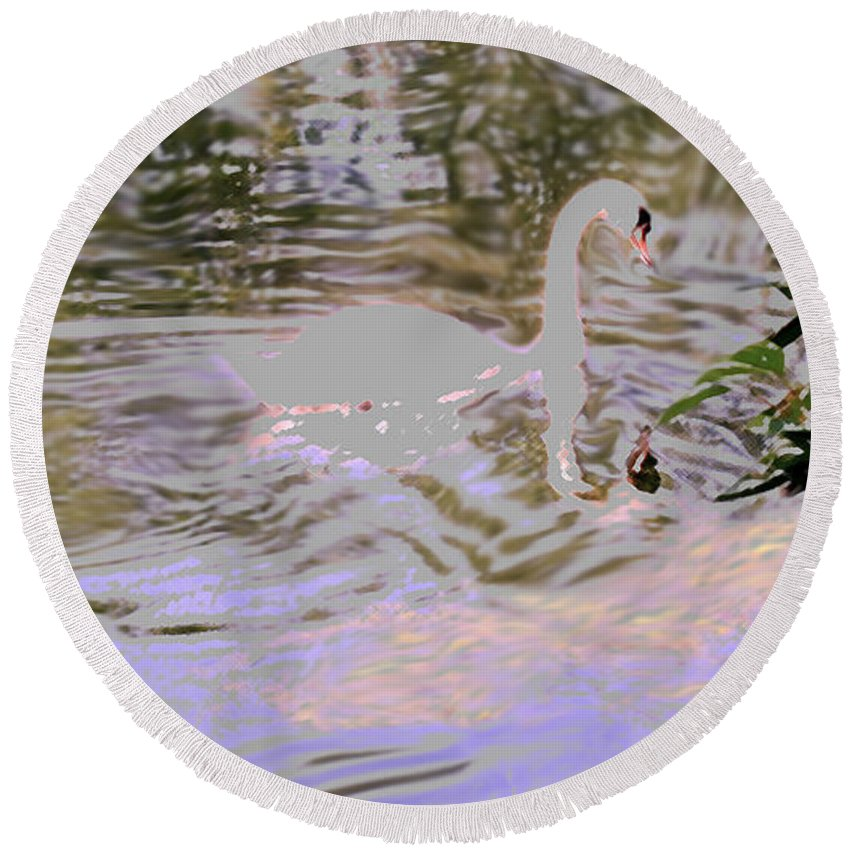 Swan Round Beach Towel featuring the photograph Ripples Subdued by Ian MacDonald