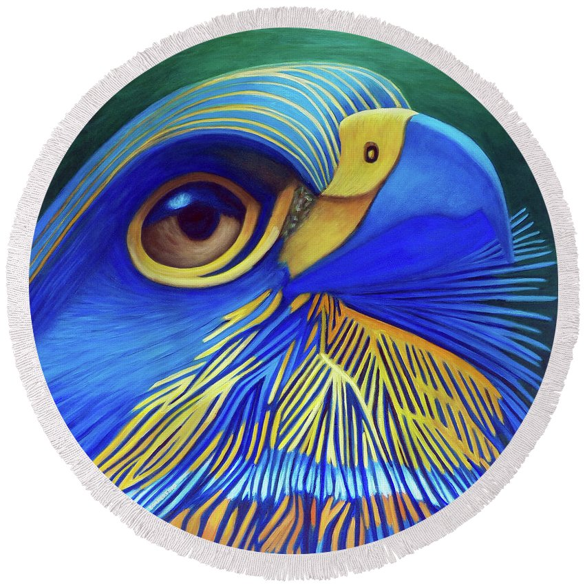 Hawk Round Beach Towel featuring the painting Rise by Brian Commerford