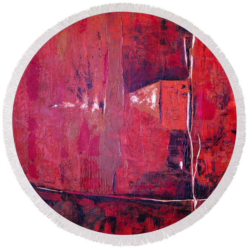 Abstract Round Beach Towel featuring the painting Risky Business by Ruth Palmer