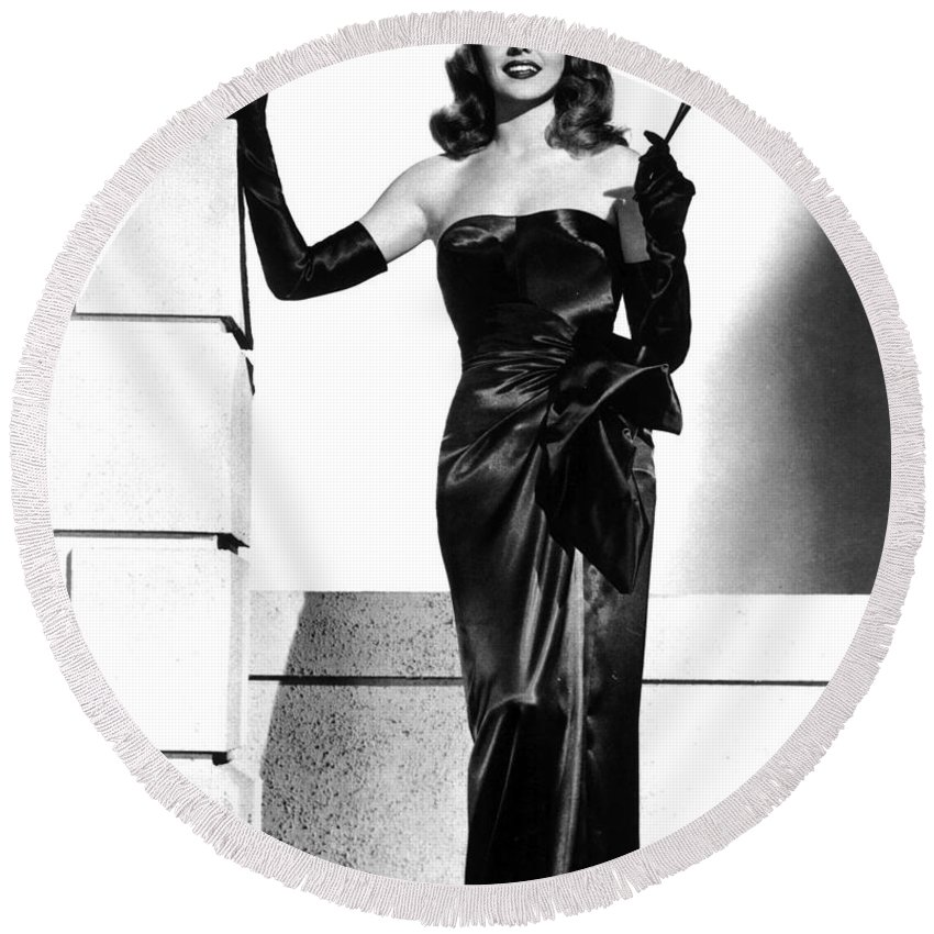 Rita Hayworth Round Beach Towel featuring the photograph Rita Hayworth by American School