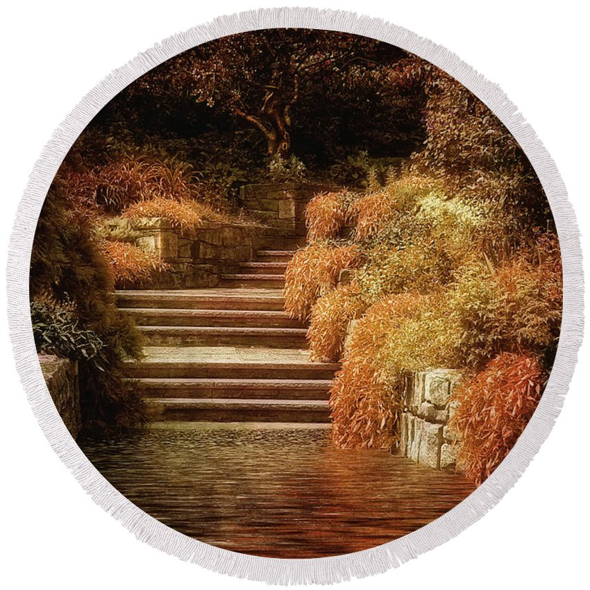 Rivendel Round Beach Towel featuring the photograph Rivendell by Lois Bryan