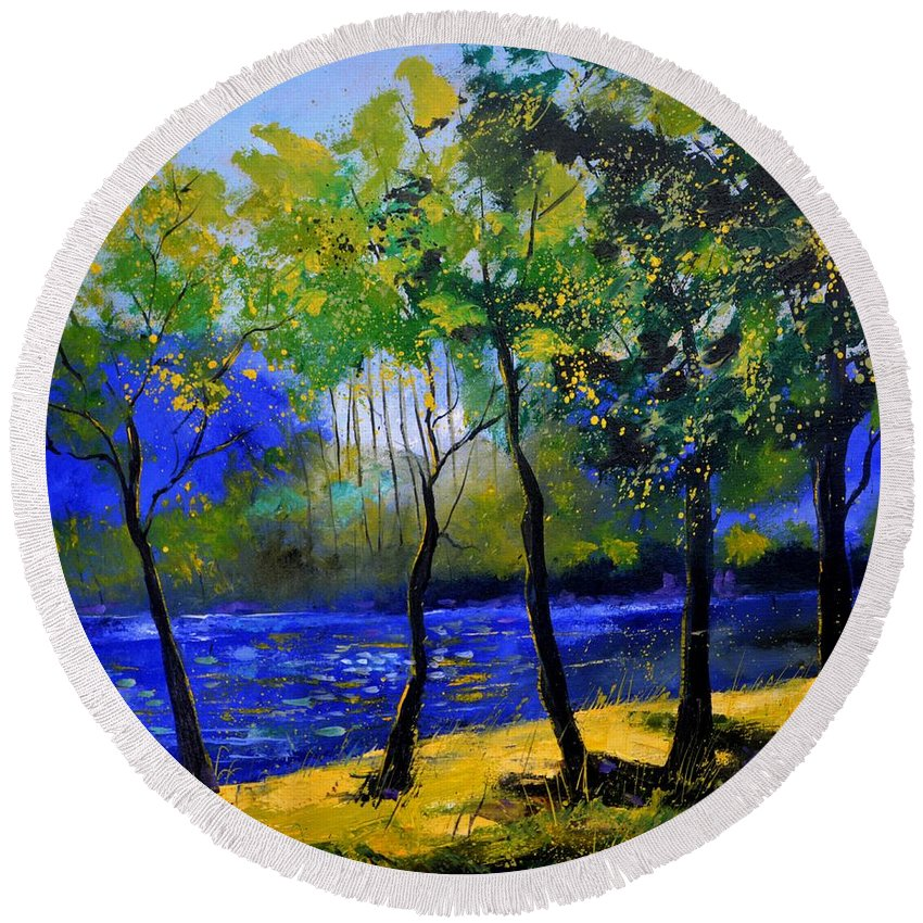 Landscape Round Beach Towel featuring the painting River 777120 by Pol Ledent