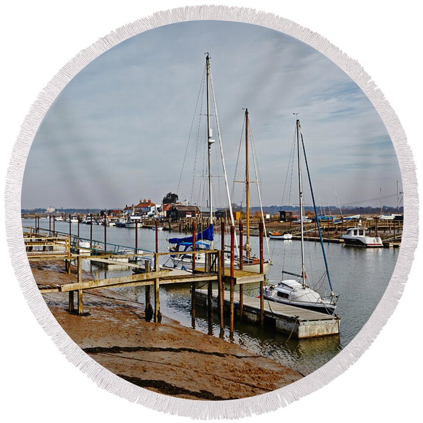 Yachts Round Beach Towel featuring the photograph River Blyth by Ralph Muir