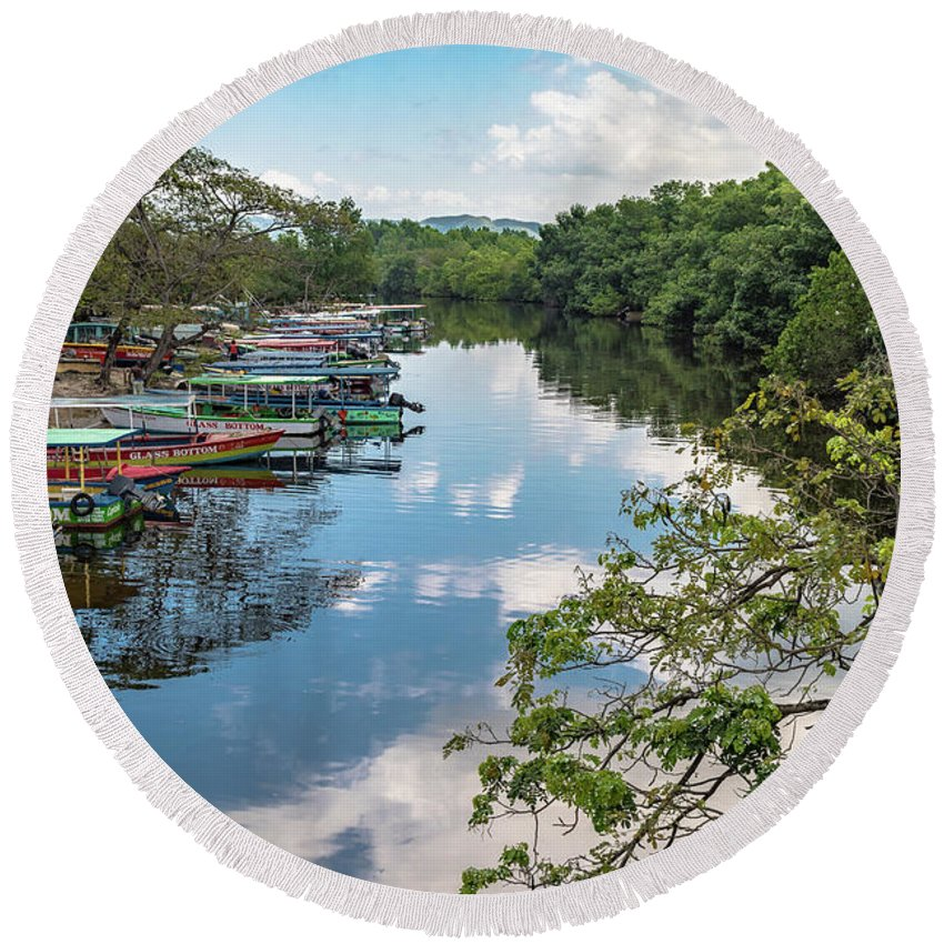Negril Round Beach Towel featuring the photograph River Boats Docked by Debbie Ann Powell