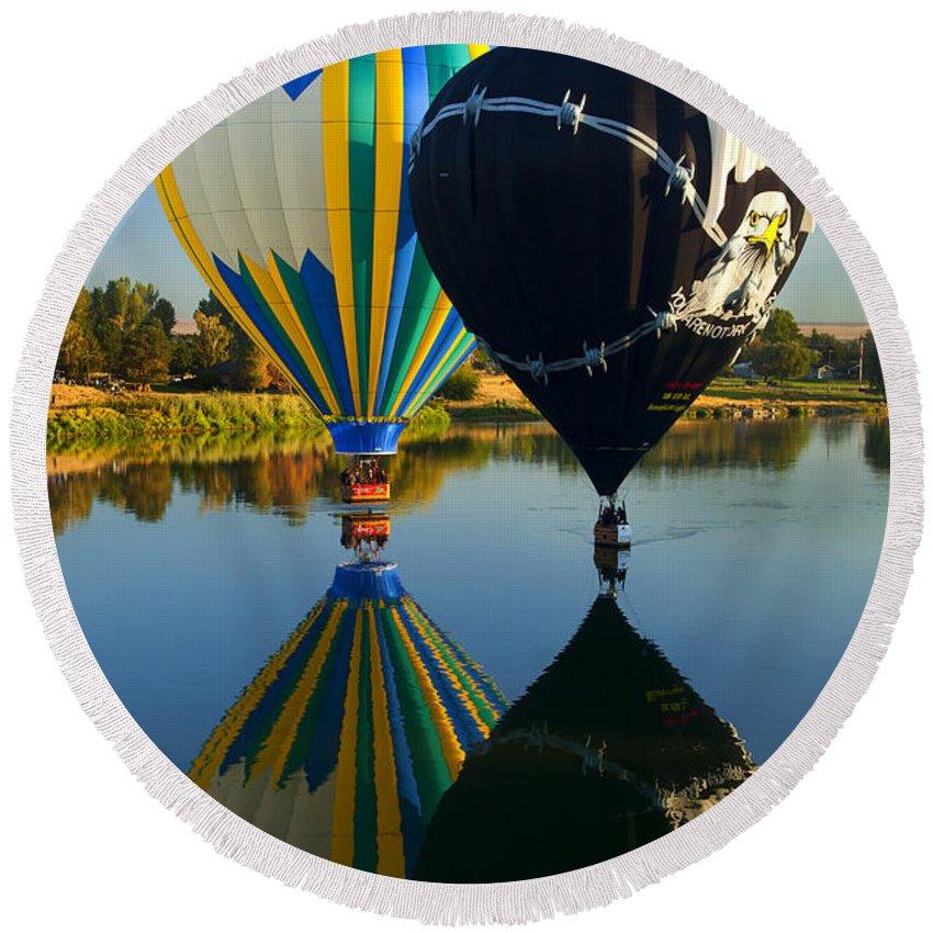 Balloon Round Beach Towel featuring the photograph River Dance by Mike Dawson