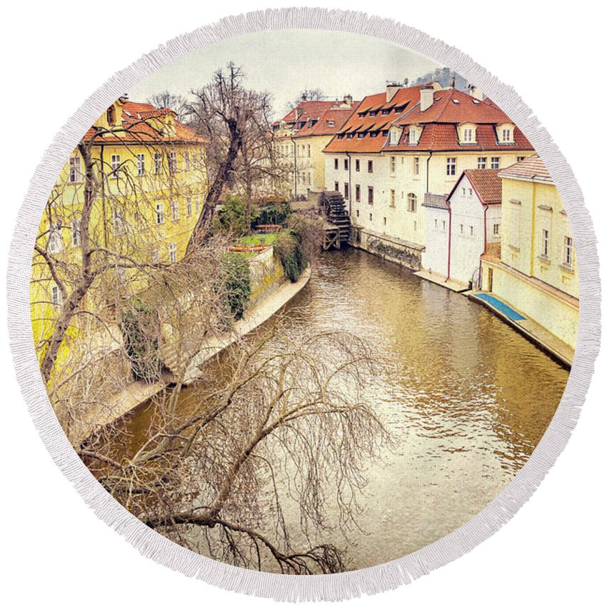 City Round Beach Towel featuring the photograph River Ends by Svetlana Sewell