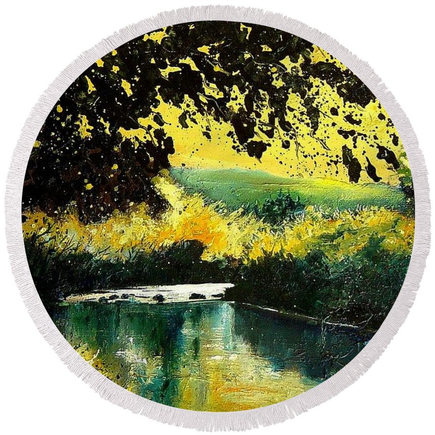 River Round Beach Towel featuring the painting River Houille by Pol Ledent