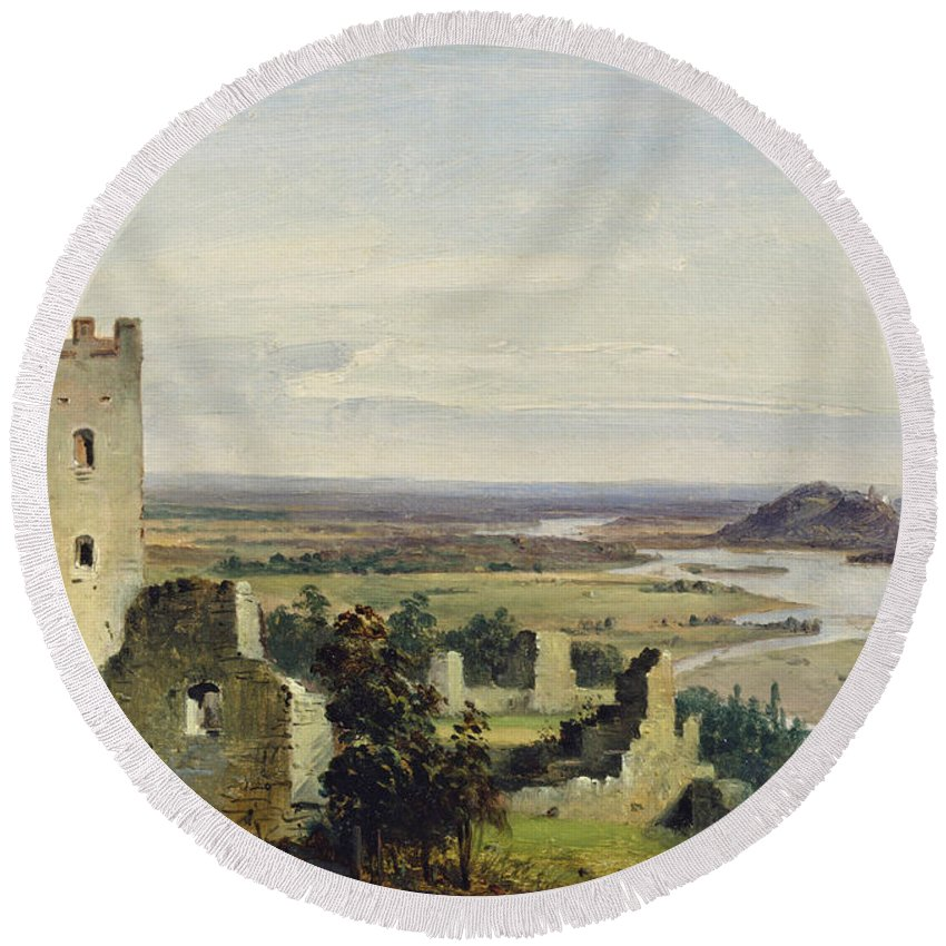 Carl Rottmann Round Beach Towel featuring the painting River Landscape With Castle Ruins by Carl Rottmann