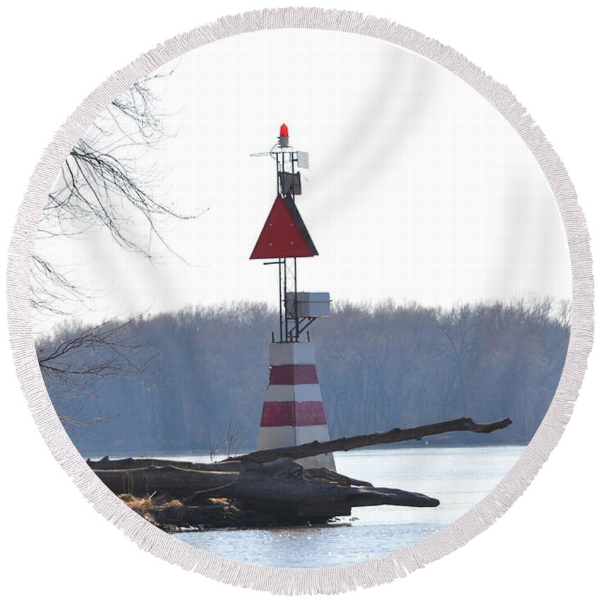 Mississippi River Round Beach Towel featuring the photograph River Marker by Tammy Mutka