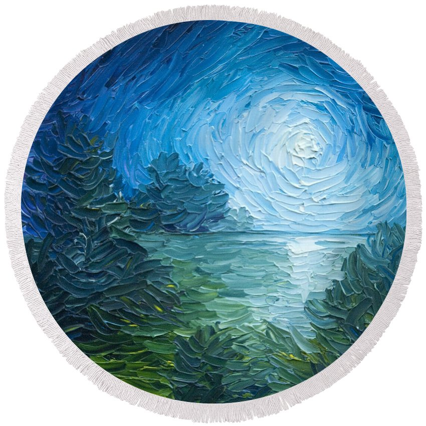 Nature; Lake; Sunset; Sunrise; Serene; Forest; Trees; Water; Ripples; Clearing; Lagoon; James Christopher Hill; Jameshillgallery.com; Foliage; Sky; Realism; Oils; Moon; Moonlight; Reflection; Blue; Lapis Round Beach Towel featuring the painting River Moon by James Christopher Hill