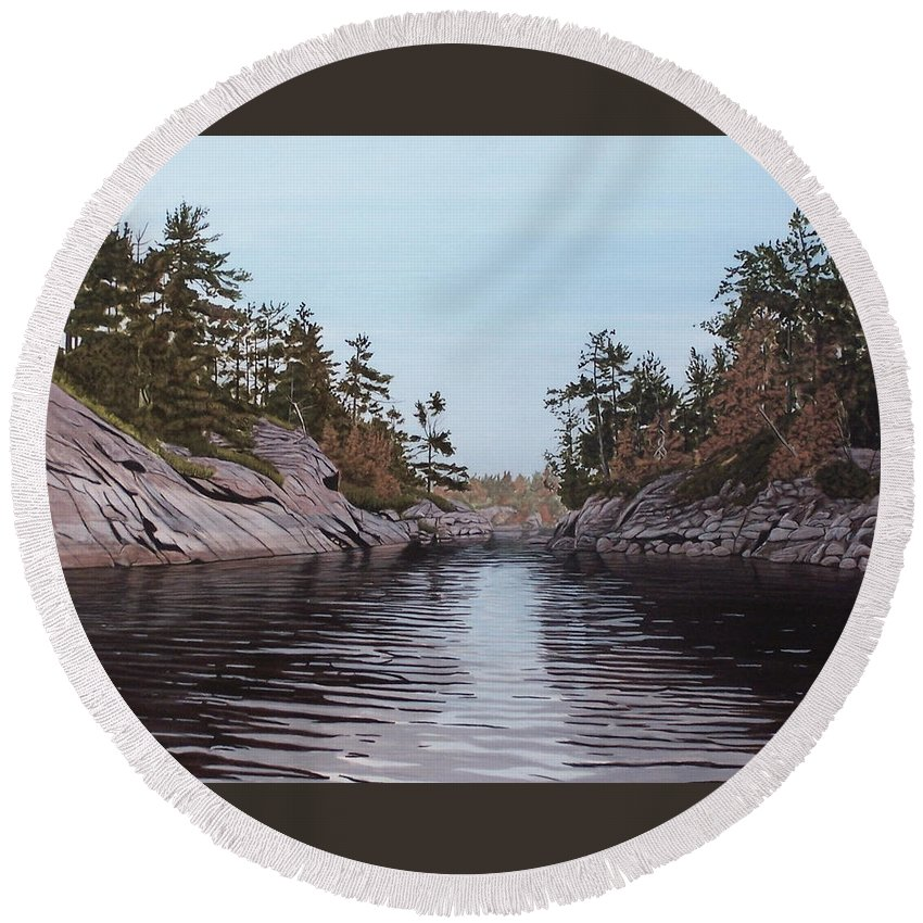 Landscapes Round Beach Towel featuring the painting River Narrows by Kenneth M Kirsch