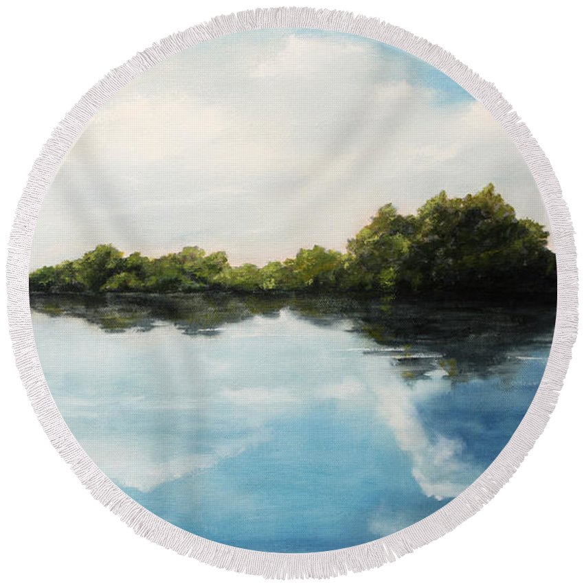 Landscape Round Beach Towel featuring the painting River of Dreams by Darko Topalski