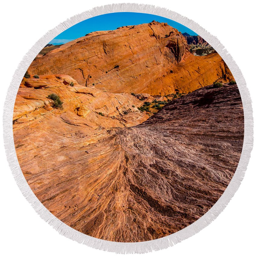 Valley Of Fire Round Beach Towel featuring the photograph River Of Erosion by Stephen Whalen