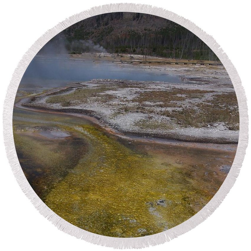 Geyser Round Beach Towel featuring the photograph River Of Gold by Gale Cochran-Smith