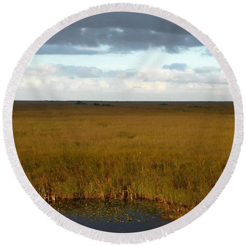 River Of Grass Round Beach Towel featuring the painting River Of Grass by David Lee Thompson