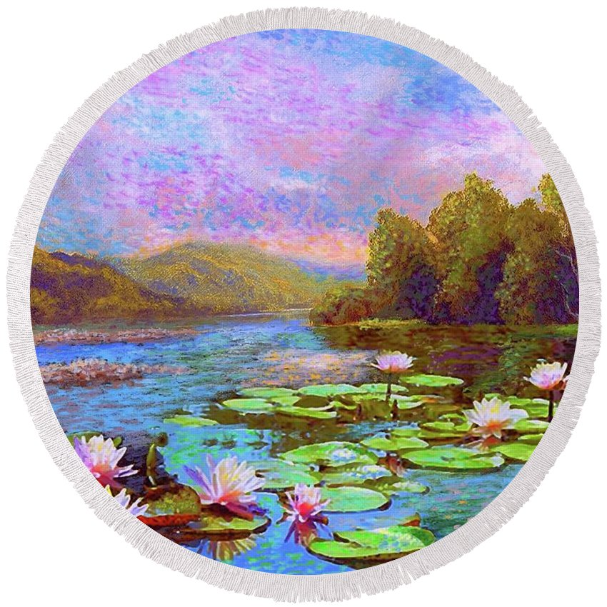 Floral Round Beach Towel featuring the painting The Wonder Of Water Lilies by Jane Small