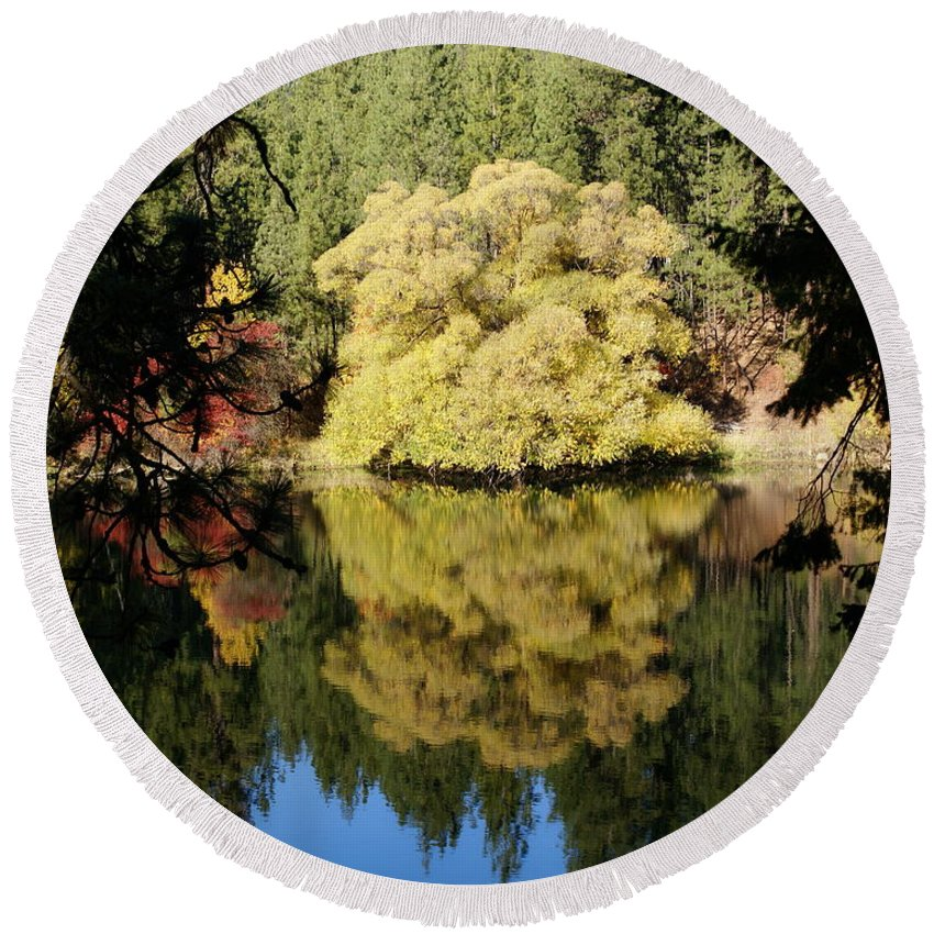 Nature Round Beach Towel featuring the photograph River Reflections by Ben Upham III