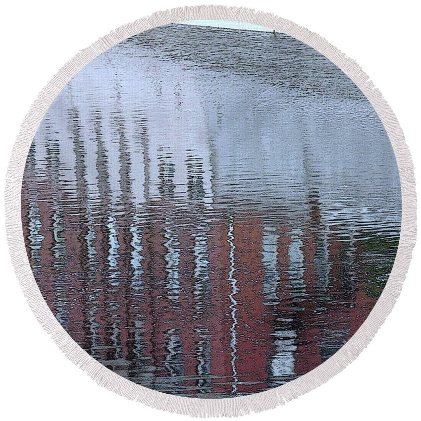 River Round Beach Towel featuring the photograph River Reflections by Ian MacDonald