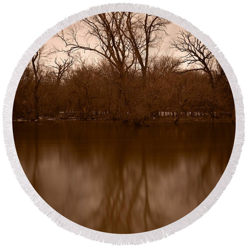 Black Round Beach Towel featuring the photograph River Reflections by Steve Gadomski