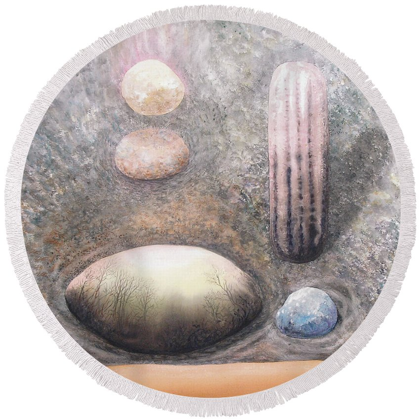 Abstract Round Beach Towel featuring the painting River Rock 1 by Valerie Meotti