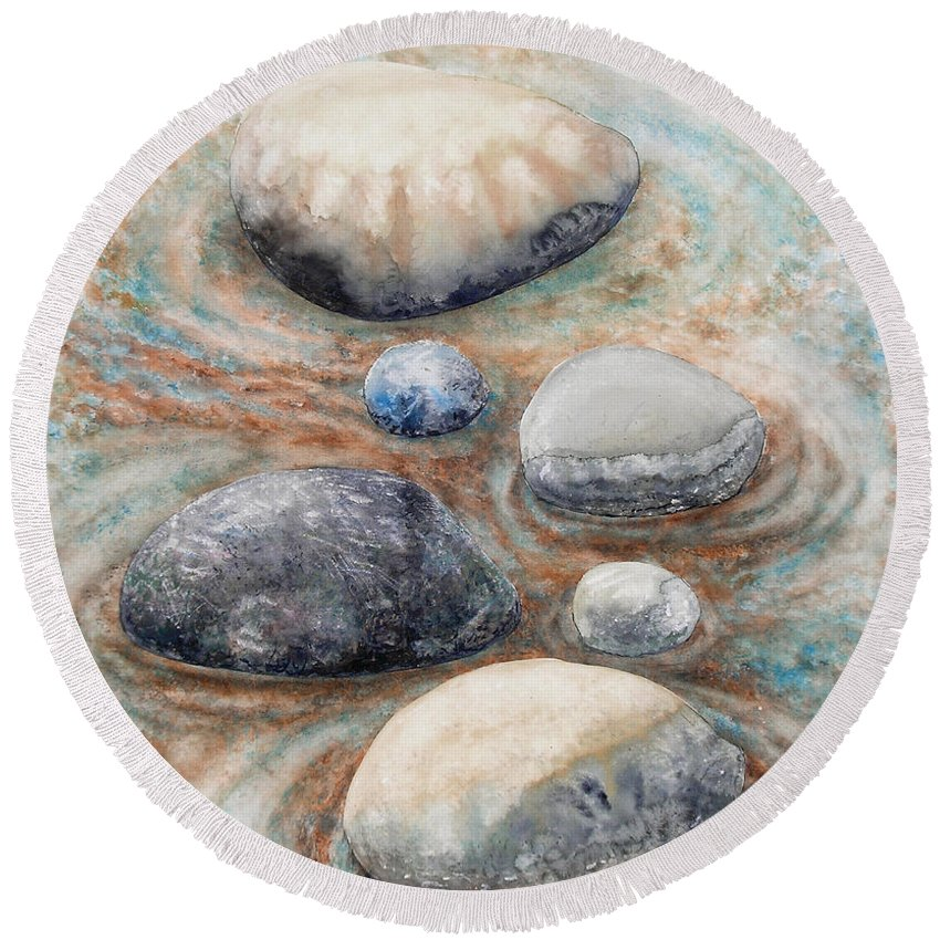 Abstract Round Beach Towel featuring the painting River Rock 2 by Valerie Meotti