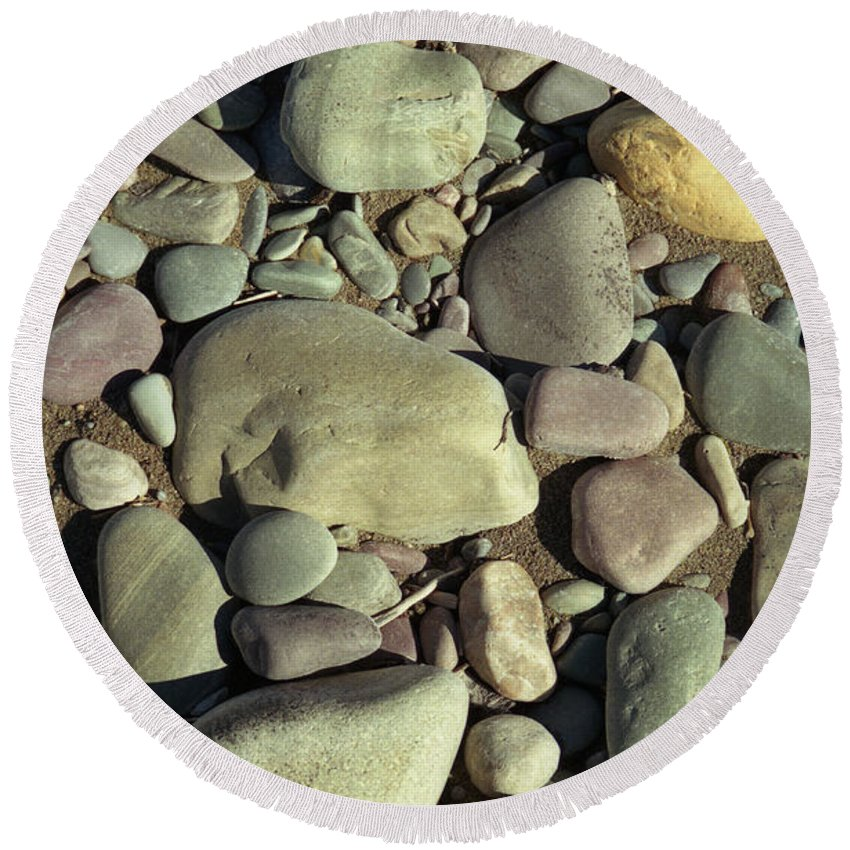 River Rock Round Beach Towel featuring the photograph River Rock by Richard Rizzo