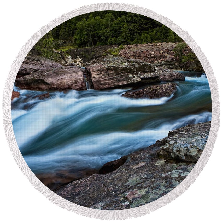 Nature Round Beach Towel featuring the photograph River Rocks by John K Sampson