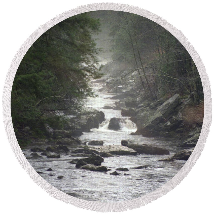 River Round Beach Towel featuring the photograph River Run by Richard Rizzo