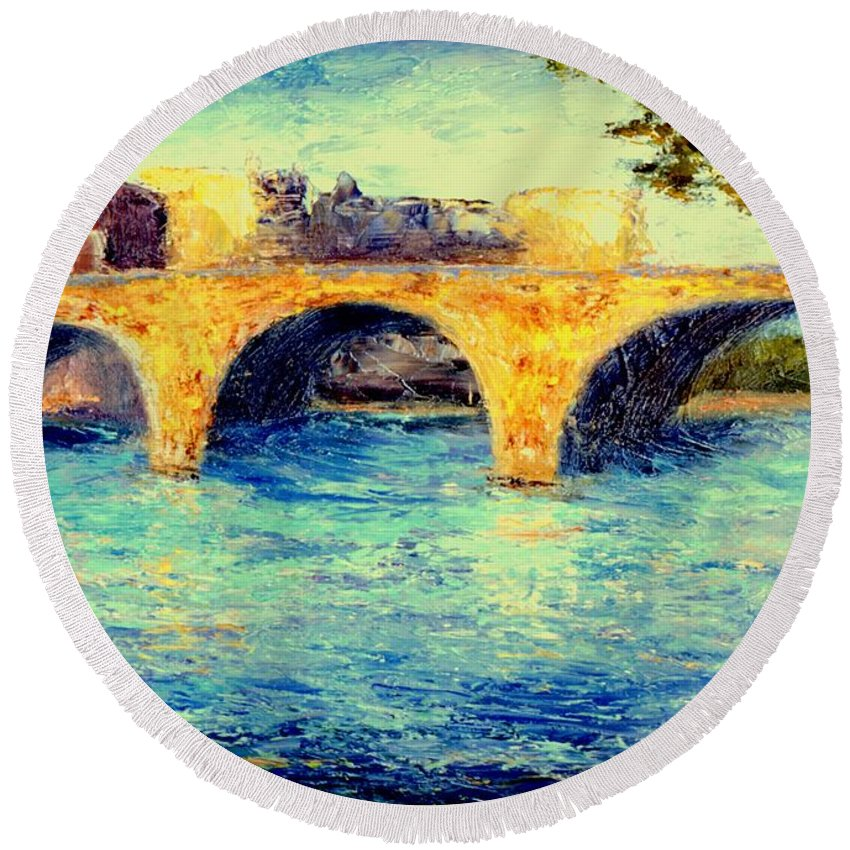 Impressionism Round Beach Towel featuring the painting River Seine Bridge by Gail Kirtz