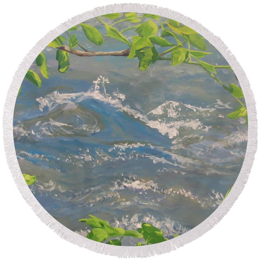 New Leaves Round Beach Towel featuring the painting River Spring by Karen Ilari
