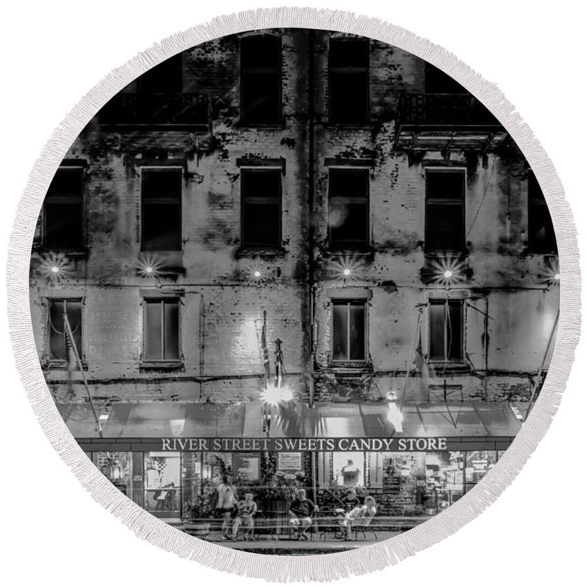 Savannah Round Beach Towel featuring the photograph River Street Sweets Candy Store Black White by Alex Grichenko
