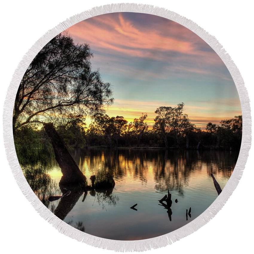 Landscape Round Beach Towel featuring the photograph River Sunrise by Clayton Curran