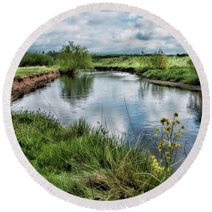 Nature_perfection Round Beach Towel featuring the photograph River Tame, Rspb Middleton, North by John Edwards