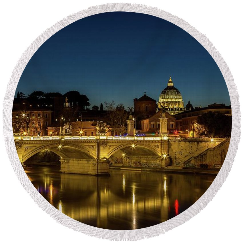 Cityscape Round Beach Towel featuring the photograph River Tiber And Vatican At Night by Mike Houghton BlueMaxPhotography